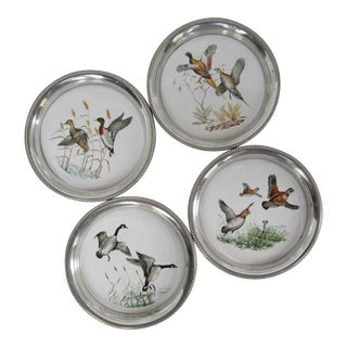 Vintage Pewter Coasters With Game Birds- 4 Pieces