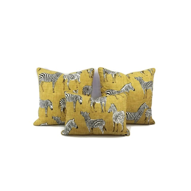 """Cotton Home Accents Ronnie Gold Africana in Gold Cotton Zebra Print Pillow Covers - a Pair, 20"""" X 20"""" For Sale - Image 7 of 9"""