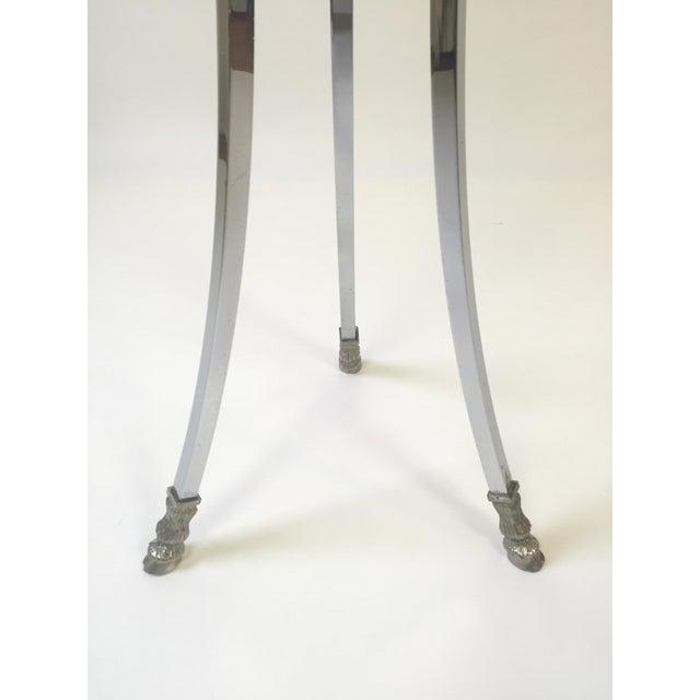 Italian Regency Steel, Brass & Marble Rams Head Pedestal Table For Sale In Buffalo - Image 6 of 7