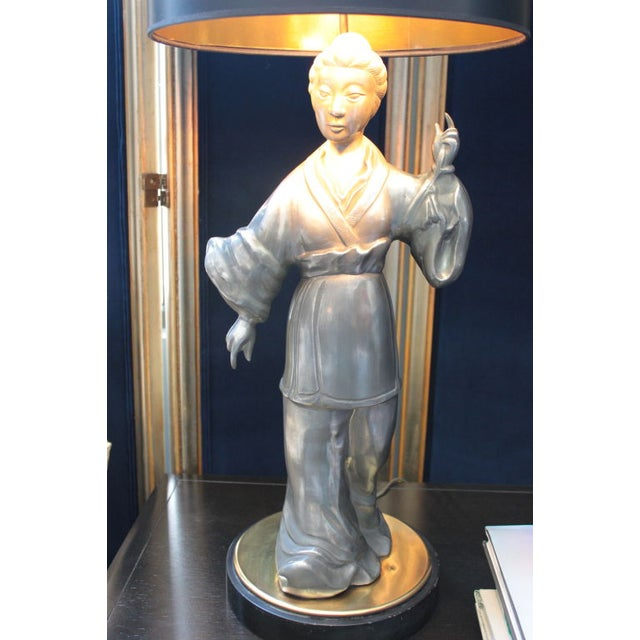 Asian Figure Zinc Table Lamps - A Pair For Sale - Image 4 of 4