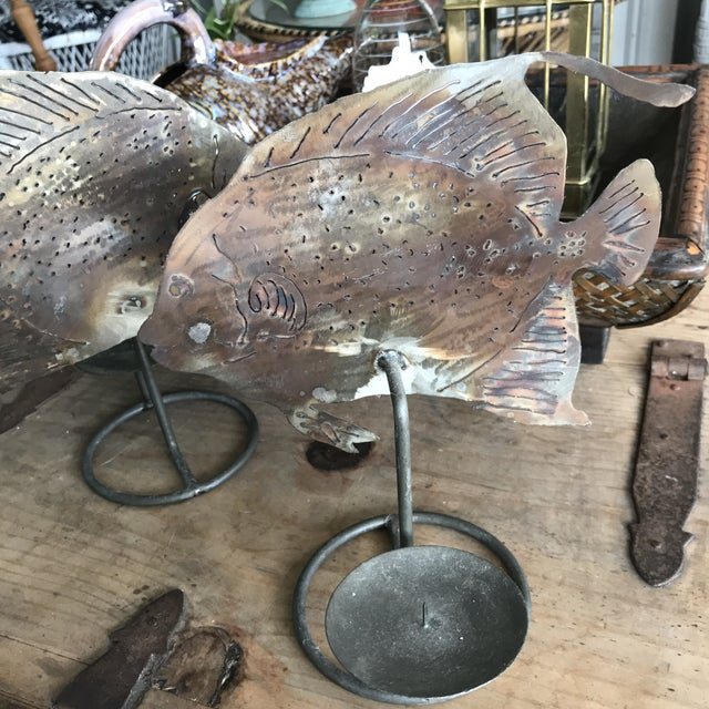 Brutalist Metal Fish Candle Holder - the Pair For Sale - Image 11 of 13