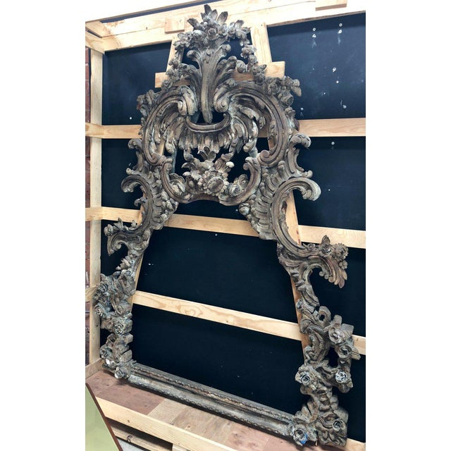 This beautiful antique frame is notable for its extremely fine hand-carved Baroque style detailing. Floral garlands and...