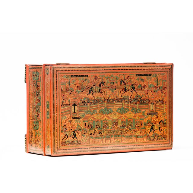 Asian Antique Extra Large Hand-Painted Red Burmese Lacquered Box For Sale - Image 10 of 11