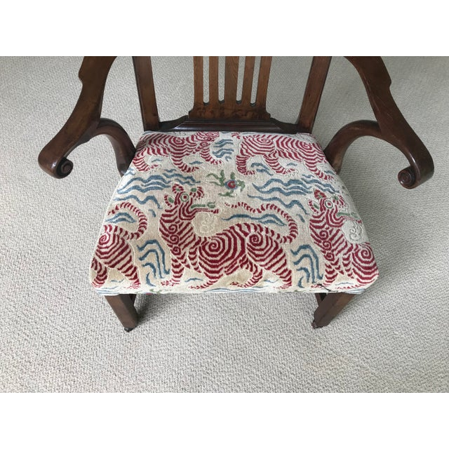 Vintage Walnut Arm Chair With Clarence House Tibet Tiger Upholstery For Sale In Portland, OR - Image 6 of 7