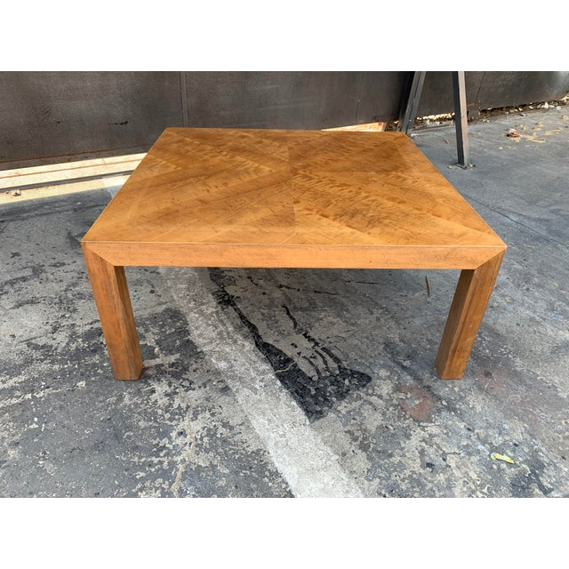 Mid Century Modern Parquet Wood Coffee Table For Sale - Image 4 of 11