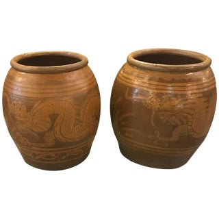 1950s Vintage Thai Floor Urns - A Pair For Sale