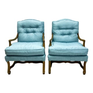 Vintage Baker Furniture French Country Arm Chairs-Pair For Sale
