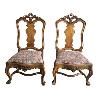 French Provencal Low Accent Chairs, Pair For Sale