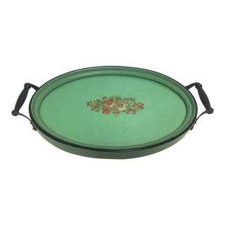 1940's Green Painted Floral Wood Oval Dresser Tray For Sale