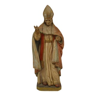 Italian Renaissance Polychromed Pope Figure For Sale