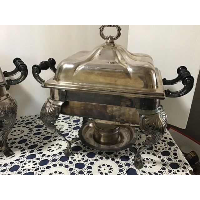 Silver plate Rectangular Covered Serving Dishes – Chafing Dishes – Downton Abbey Elegance A Pair Silver Plate Covered...
