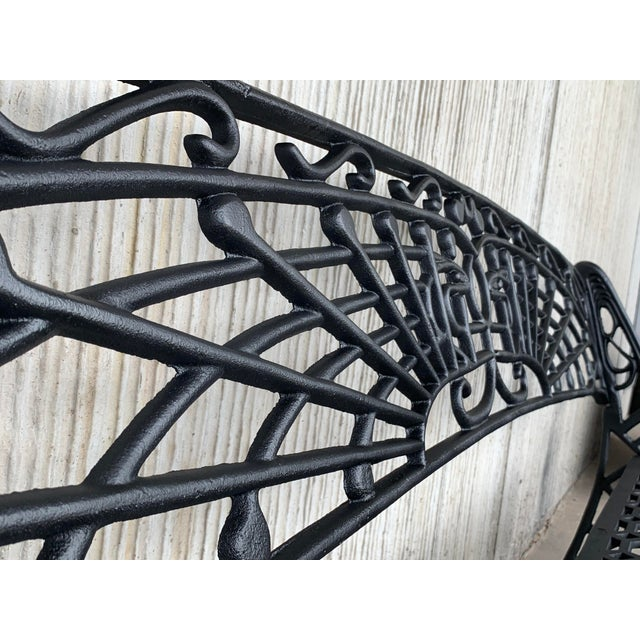 Black New Large Black Cast Aluminum Garden or Park Bench For Sale - Image 8 of 13