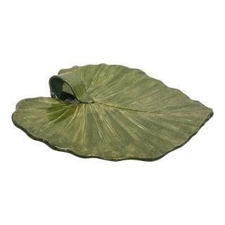 Studio Pottery Leaf Pattern Platter Signed For Sale