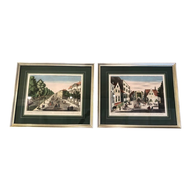 Antique Silver Framed Green Matted Bookplate Etchings - a Pair For Sale