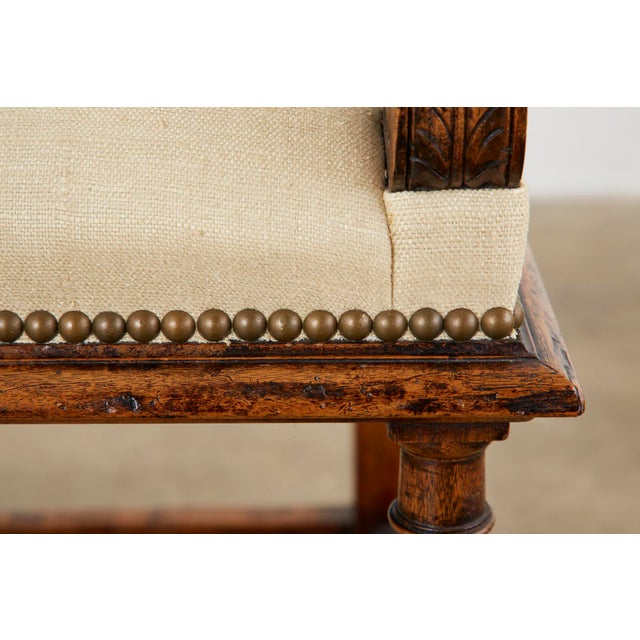 English Gothic Revival Wainscot Style Carved Hall Chair For Sale - Image 9 of 13