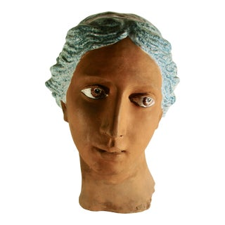 Italian Neoclassical Terracotta Woman's Head With Enamel Details For Sale