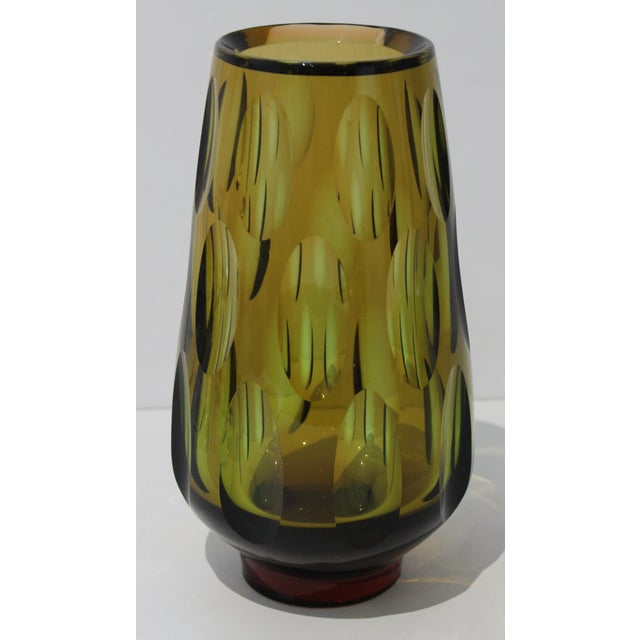 Mid-Century Modern Swedish Vase With Optic Ovals - Smokey Olive Green For Sale - Image 12 of 12