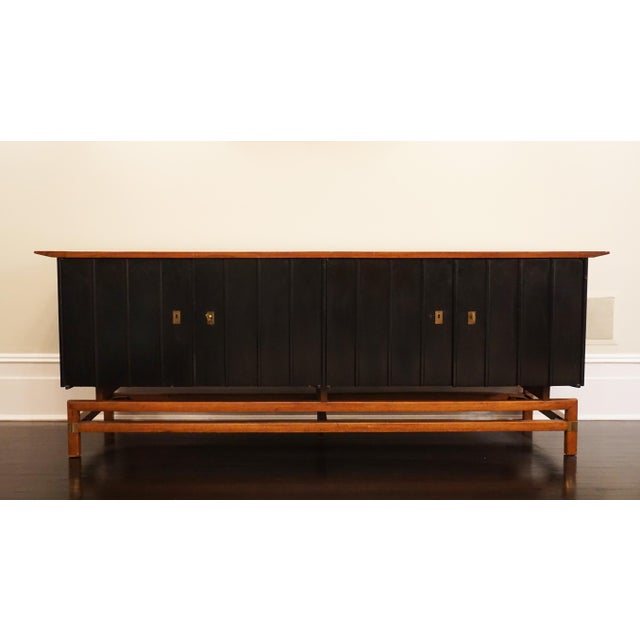 Metal Mid-Century Modern Two-Toned Buffet With Unique Brass Hardware For Sale - Image 7 of 7