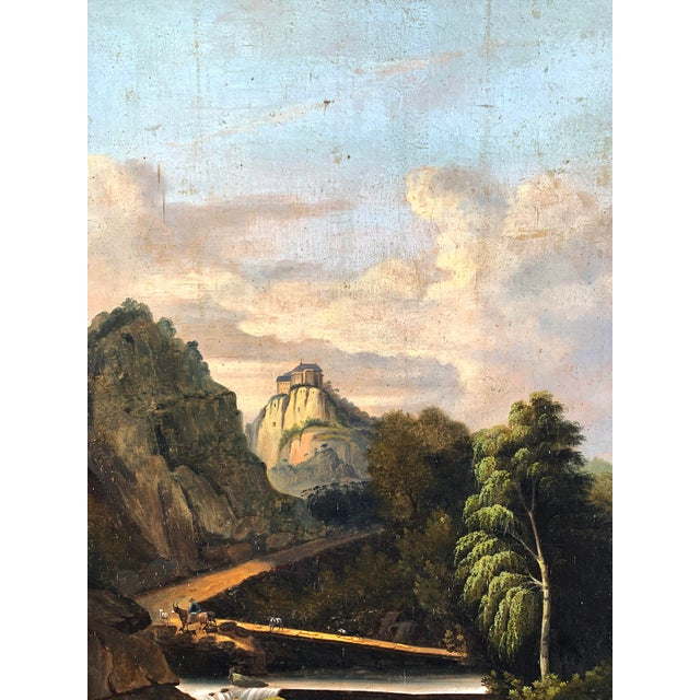 French Trumeau Mirror With Idyllic Pastoral Landscape For Sale - Image 4 of 12