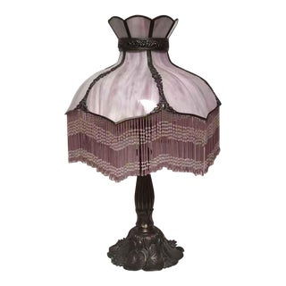 1940s Circa Vintage Bronze Base Lamp With Pink Fringed Shade For Sale