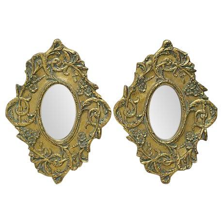 Gilt & Aqua Wall Mirrors - A Pair - Image 1 of 2