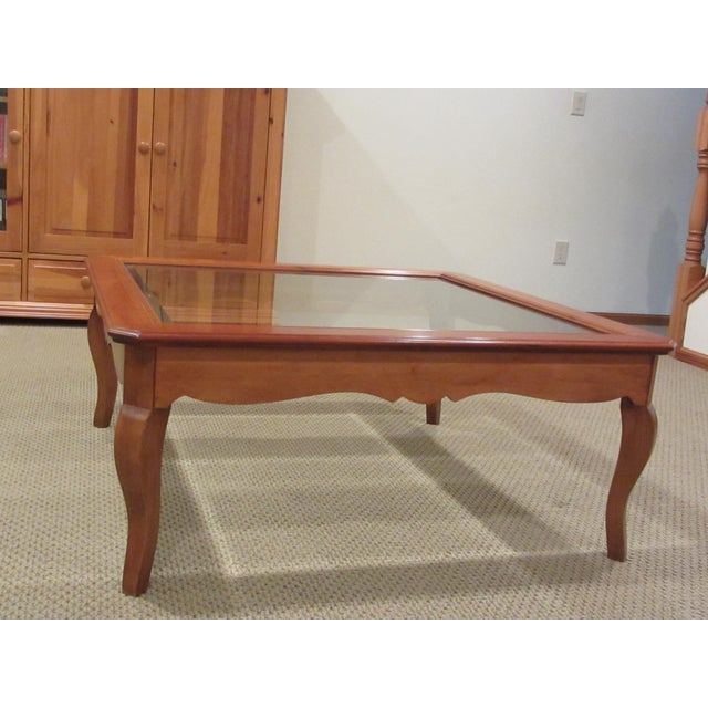 Ethan Allen Country French Coffee Table With Beveled Glass Insert - Image 2 of 4