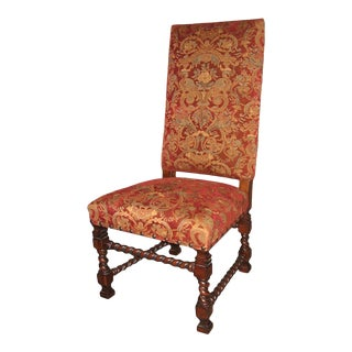 Tuscan Tall Square Back and Red Baroque Dining Chair For Sale