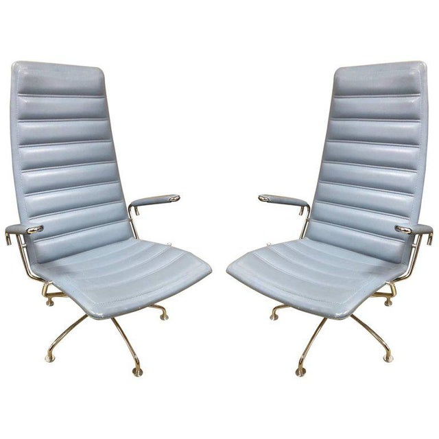 Gray Pair Lounge Chairs by Jens Ammundsen for Fritz Hansen For Sale - Image 8 of 8