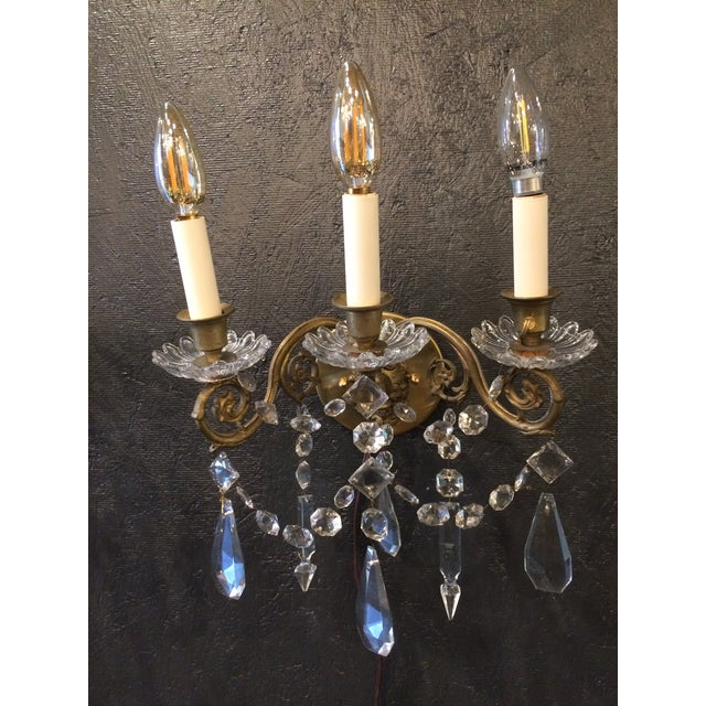 French Country Napoleon III Bronze and Crystal Sconces - A Pair For Sale - Image 3 of 9