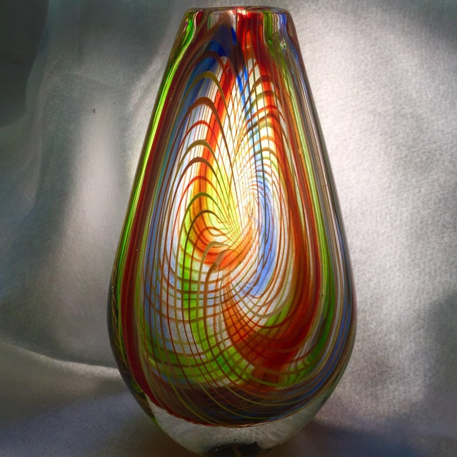 Toso Murano Large Mid-Century Murano Multi-Colored Swirl Teardrop Vase Attributed to Dino Martens For Sale - Image 4 of 9