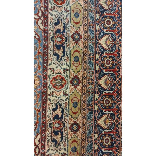 Blue Antique Hand Made Persian Mashhad Rug - 4′4″ × 7′ For Sale - Image 8 of 10