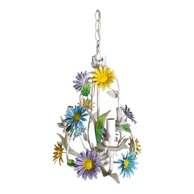 1970s Italian Floral Pastel Tole 3 Light Statement Chandelier For Sale