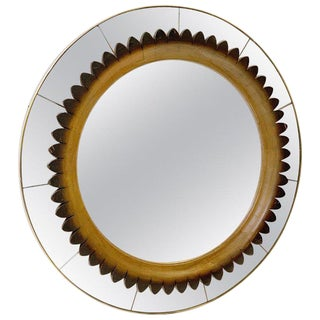 Circular Walnut Wall Mirror by Fratelli Marelli Italy, Circa 1950s For Sale