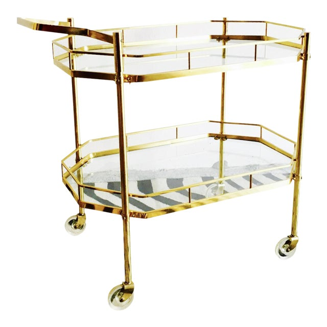 1960's French Brass Bar Cart - Image 1 of 6