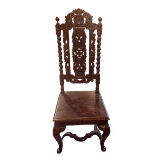 Vintage Jacobean Style Chipped Carved Chair For Sale