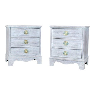 Pair of Chabby Chic White Painted Three Drawers Nightstands Lamp Tables For Sale