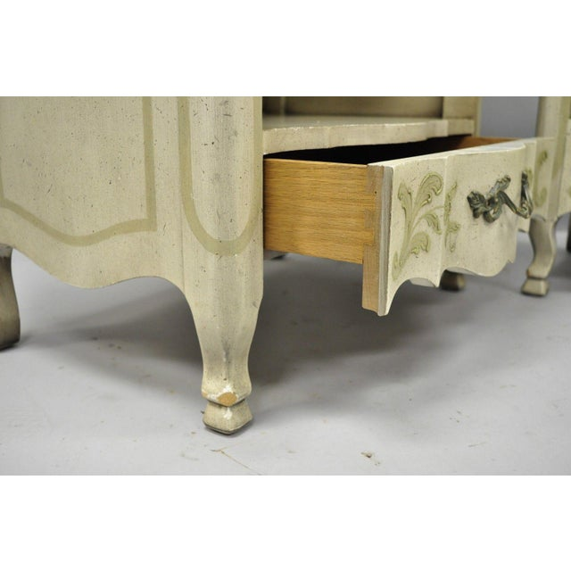 White John Widdicomb Country French Provincial Cream Paint Nightstands - a Pair For Sale - Image 8 of 13