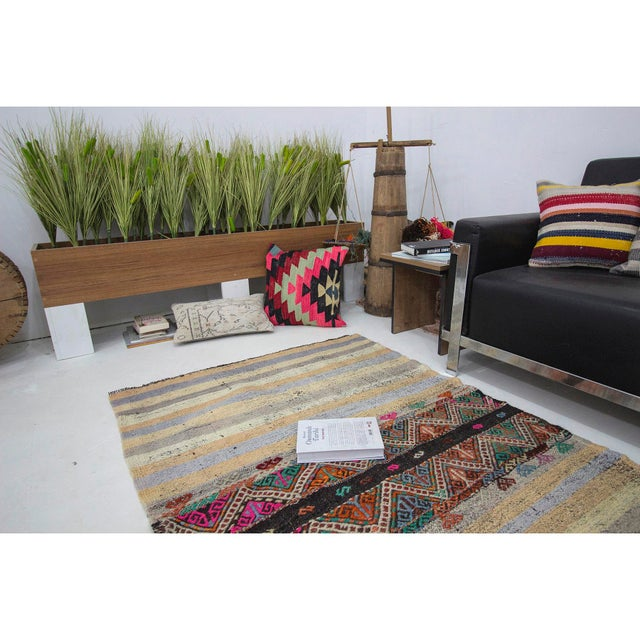 Vintage Turkish Small Kilim Rug For Sale In Los Angeles - Image 6 of 7