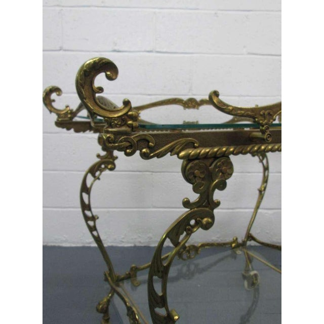 1950s Baroque Brass Two-Tier Bar Cart For Sale - Image 5 of 7