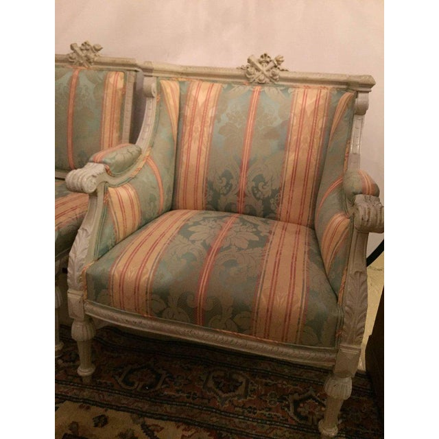 Swedish Fashioned Louis XVI Style Salon Suite, Off-White Paint Decorated Finish - Image 9 of 10