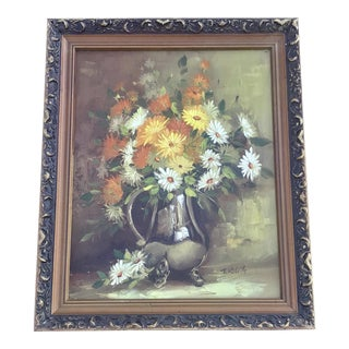 1970s Vintage Floral Still Life Painting For Sale