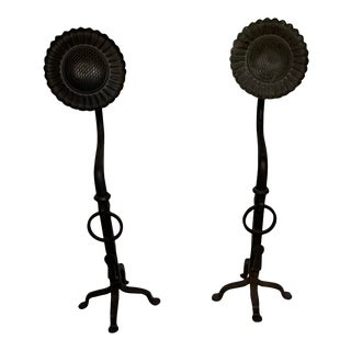 20th Century Sunflower Black Wrought Oversized Iron Hand Forged Andirons - A Pair For Sale