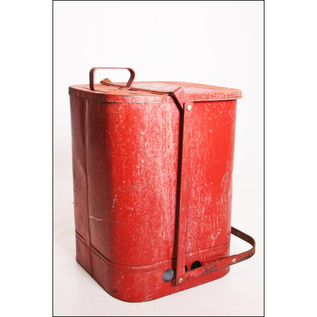 Metal Vintage Industrial Red Metal Trash Can with Flip Top Lid For Sale - Image 7 of 11