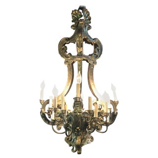 Fine 19th Century French Baroque Style Metal Chandelier For Sale