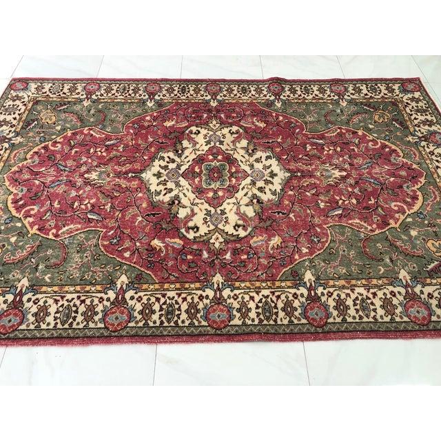 Red 1970s Vintage Turkish Floral Area Rug - 6′2″ × 9′7″ For Sale - Image 8 of 11