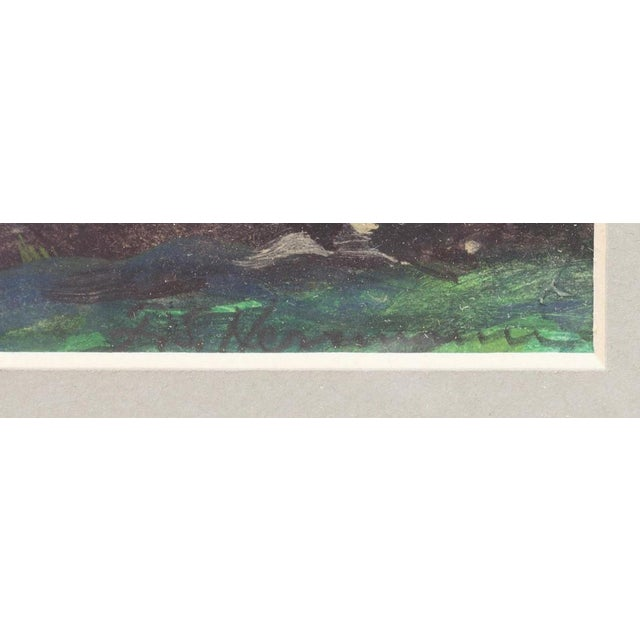Expressionism 1900s Expressionist Cloudy Sunrise Watercolor by Frank Herrmann in Gold Faux Bamboo Frame For Sale - Image 3 of 5
