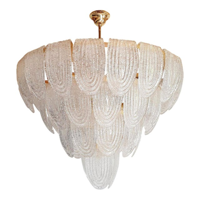 Large Mid Century Modern Clear Murano Glass Chandelier, Mazzega Style, Italy 1970s For Sale - Image 11 of 11