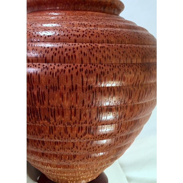 "Gorgeous hand-turned oversized vase by listed Florida ""found wood"" artist John Penrod circa 1991. This singular work was..."