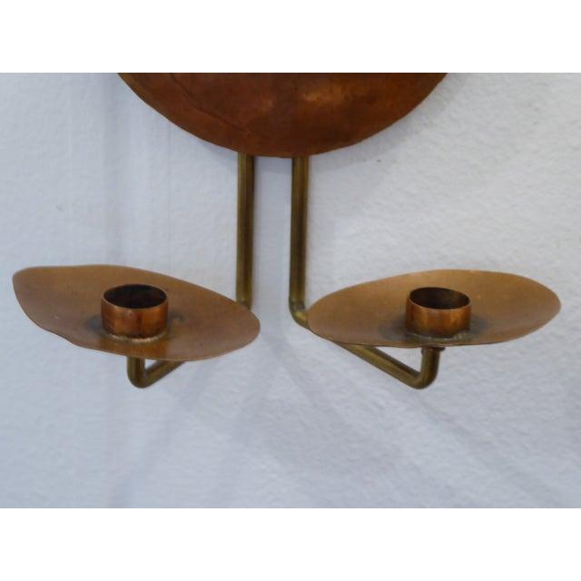 Vintage Arts & Crafts Copper & Brass Sconces - a Pair For Sale - Image 4 of 6