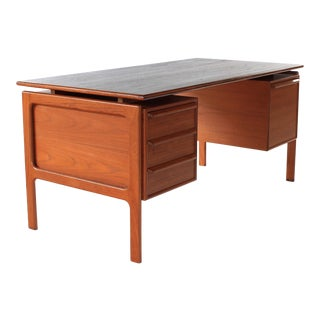 Mid Century Gasvig Danish Modern Teak Floating Top Desk For Sale